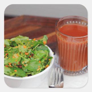 Ginger Carrot Tomato Dressing Watercress Salad Square Sticker