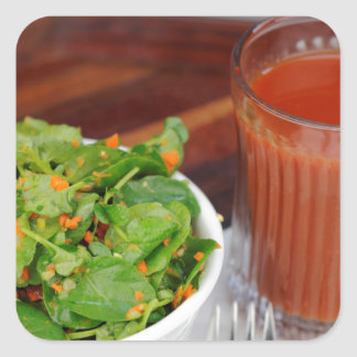 Ginger Carrot Tomato Dressing Watercress Salad Square Sticker