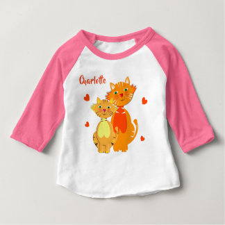Ginger Cat and Kitten Super Cute Personalized Baby T-Shirt