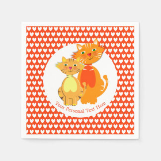 Ginger Cat and Kitten Super Cute Personalized Paper Napkin