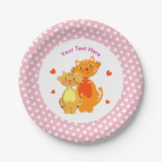 Ginger Cat and Kitten Super Cute Personalized Paper Plate