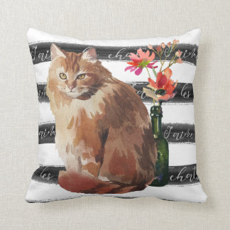 Ginger Cat with Flowers and Vase Throw Pillow