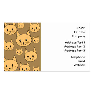 Ginger Cats Pattern on Brown. Business Cards