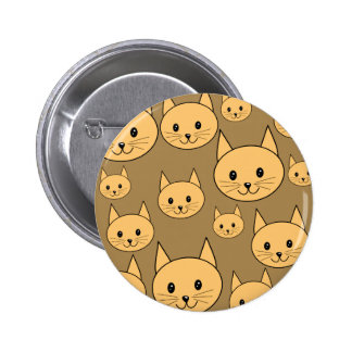 Ginger Cats Pattern on Brown Pin
