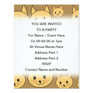 Ginger Cats Pattern on Brown. 4.25x5.5 Paper Invitation Card