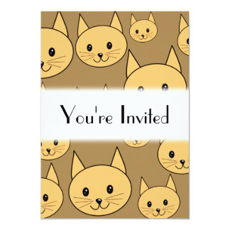 Ginger Cats Pattern on Brown. 5x7 Paper Invitation Card