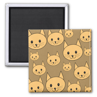 Ginger Cats Pattern on Brown. Magnets