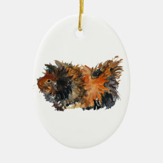 Ginger Fluffy Guinea Pig Watercolour Painting Ceramic Oval Ornament