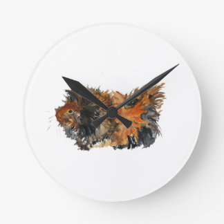 Ginger Fluffy Guinea Pig Watercolour Painting Clock