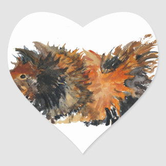 Ginger Fluffy Guinea Pig Watercolour Painting Heart Sticker