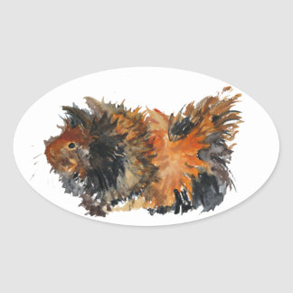 Ginger Fluffy Guinea Pig Watercolour Painting Oval Sticker