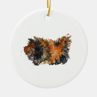 Ginger Fluffy Guinea Pig Watercolour Painting Round Ceramic Ornament