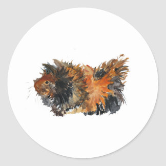 Ginger Fluffy Guinea Pig Watercolour Painting Round Sticker