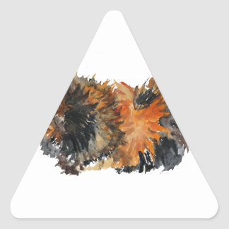 Ginger Fluffy Guinea Pig Watercolour Painting Triangle Sticker