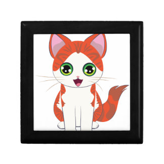 Ginger Kitten Cartoon Gift Box