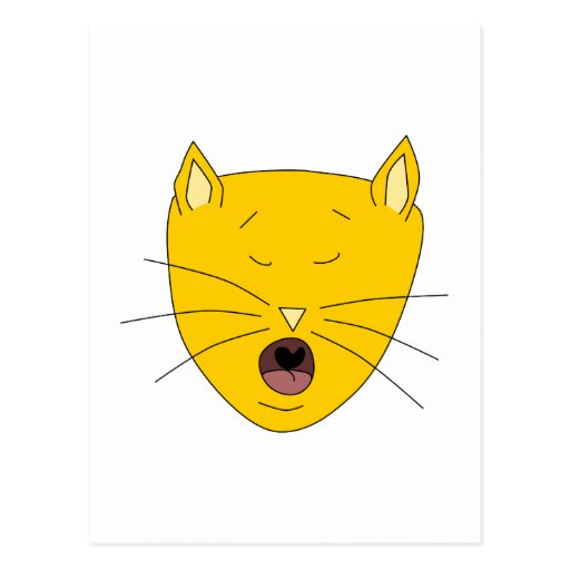 Ginger singing cat. postcard