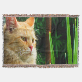 Ginger Tabby Cat Meditation Throw Blanket