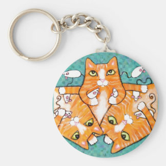 Ginger Tabby Cats With Toys Keychain