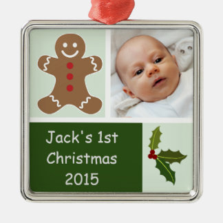 Gingerbread and Holly Silver-Colored Square Ornament