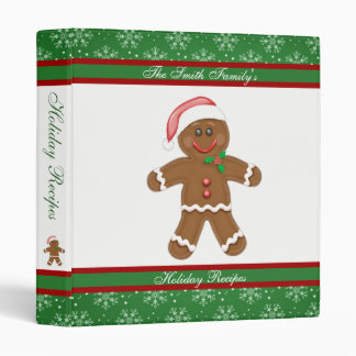 Gingerbread and Snowflakes Holiday Recipes 3 Ring Binders