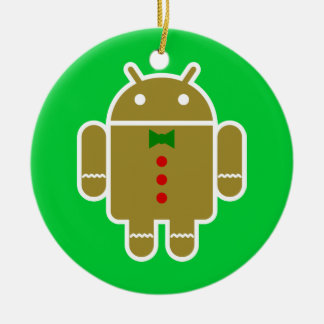 Gingerbread Android Round Ceramic Ornament