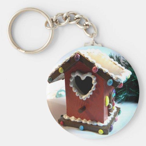 Gingerbread Birdhouse Keychain