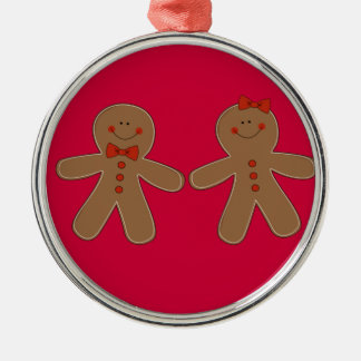 Gingerbread Boy and Girl Silver-Colored Round Ornament