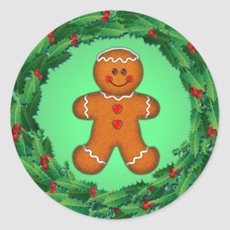 GINGERBREAD BOY & HOLLY WREATH by SHARON SHARPE Classic Round Sticker