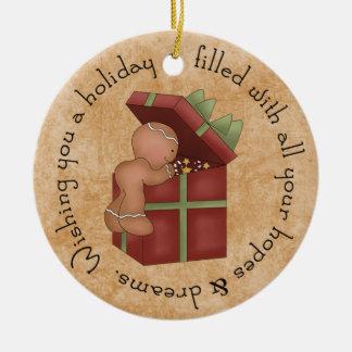 Gingerbread Boy peaking at present Ceramic Ornament