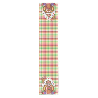 Gingerbread Candy House Plaid Table Runner