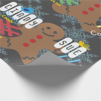 Gingerbread Chalkboard Custom Name Gift Wrap