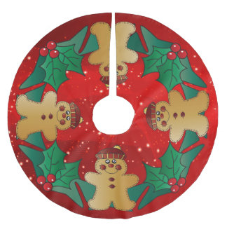 Gingerbread Christmas Holiday Brushed Polyester Tree Skirt