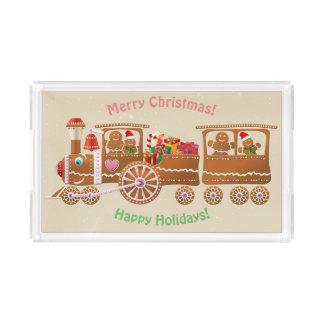 Gingerbread Christmas Steam Train Acrylic Tray