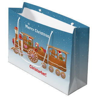 Gingerbread Christmas Steam Train Large Gift Bag