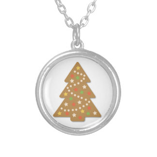 Gingerbread Christmas Tree Silver Plated Necklace