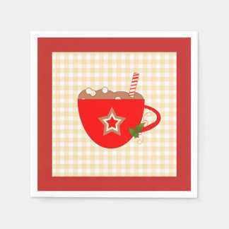 Gingerbread Cocoa Gingham Napkins Disposable Napkins