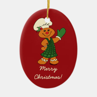 Gingerbread Cookie Ceramic Oval Ornament