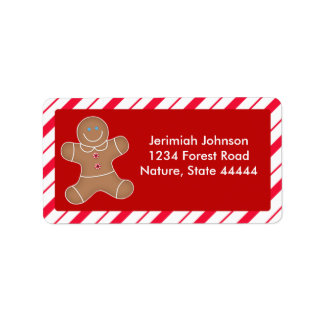 Gingerbread Cookie Christmas Address Label