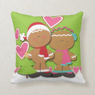 Gingerbread Cookie Couple Christmas Throw Pillow