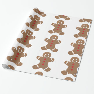 gingerbread cookie face man cute body dessert wrapping paper