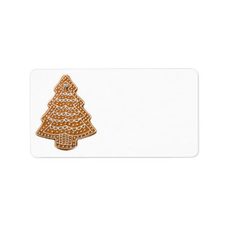 Gingerbread Cookie In Shape Of Tree For Christmas Label