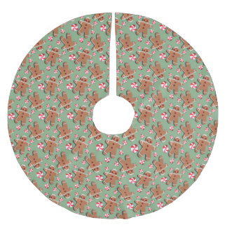 Gingerbread Cookies Candies Green Brushed Polyester Tree Skirt