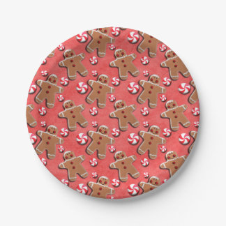 Gingerbread  Cookies Candies Red Paper Plate