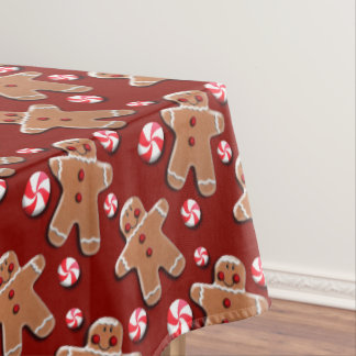 Gingerbread Cookies Candies Red Tablecloth