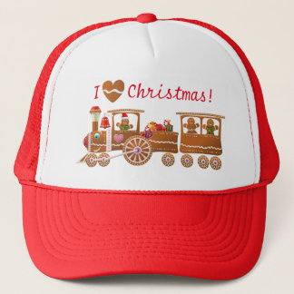 Gingerbread Cookies' Merry Christmas Train Cartoon Trucker Hat