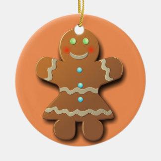 Gingerbread Cookies Round Ceramic Ornament