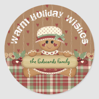 Gingerbread Country Christmas Classic Round Sticker