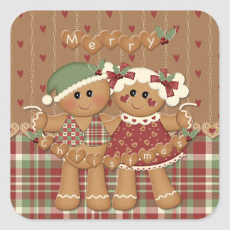 Gingerbread Country Christmas Square Stickers