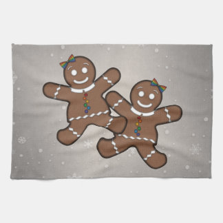 Gingerbread Couple Lesbian Pride Hand Towels