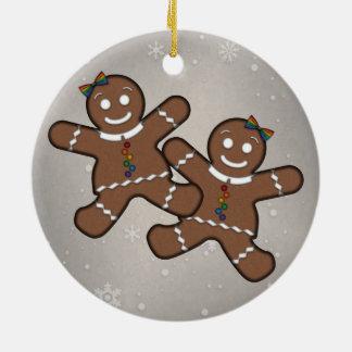 Gingerbread Couple Lesbian Pride Round Ceramic Ornament